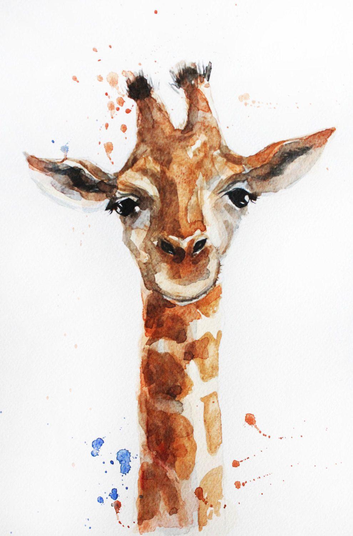Original Watercolor Painting, Little Giraffe art, Giraffe ...