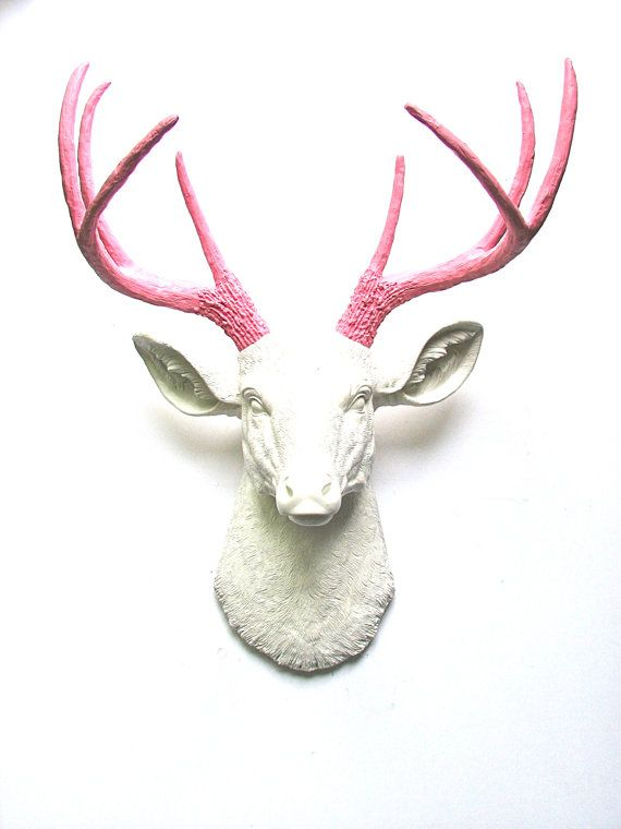 Faux Taxidermy Deer Head Wall Mount Wall Hanging Wall Decor in white and pink:  Deerman the Deer Head