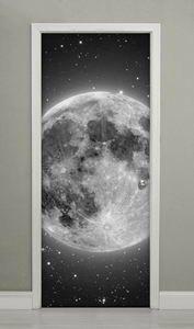 Vinilos Decorativos Para Puertas Armarios.Puerta Mural Fotomural Noche Luna Planeta Espacio
