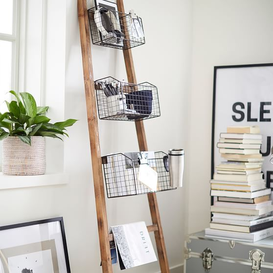 Wall Leaning Rack With Baskets In 2020 Diy Blanket Ladder Wall