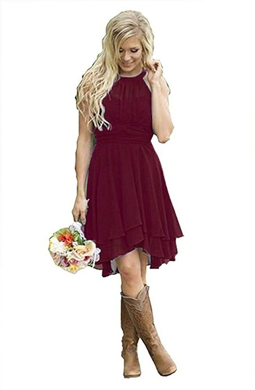 b83b2f9ad0d4 Veiai Women Veiai Halter Country Bridesmaid Dress Short Maid of Honor Gown  Burgundy US12 Size