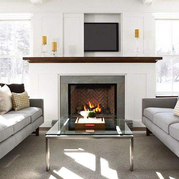 Sliding Door Living Room With Fireplace Living Room Tv Hide Tv Over Fireplace