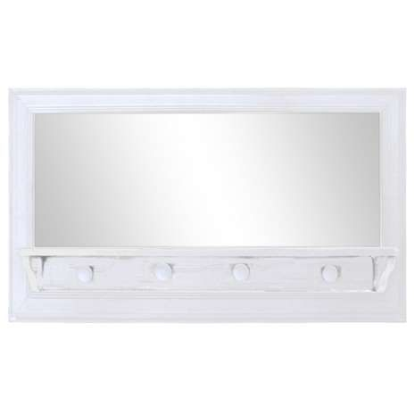 White wooden mirror with shelf and hooks dunelm - Wooden bathroom mirror with shelf ...