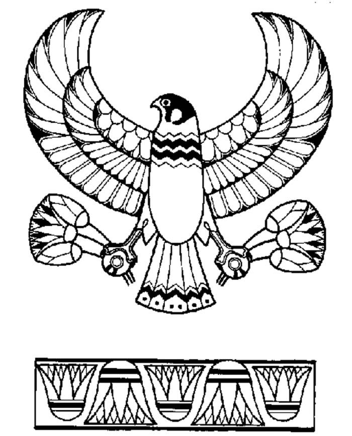 Ancient egypt eagle god horus emblem coloring page for Egypt coloring page