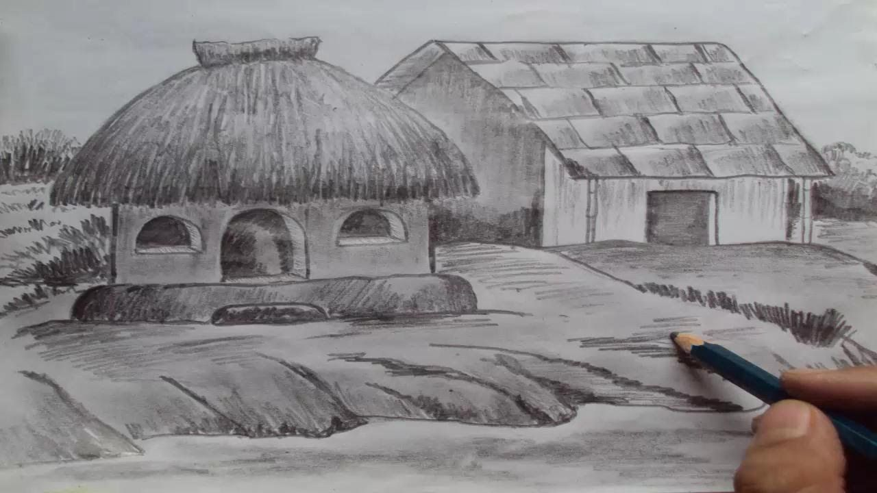 How to draw a house shading with pencil youtube