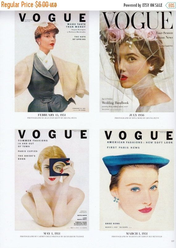Vintage Vogue Covers Poster Print, 1950s Vogue Frameable Picture ...