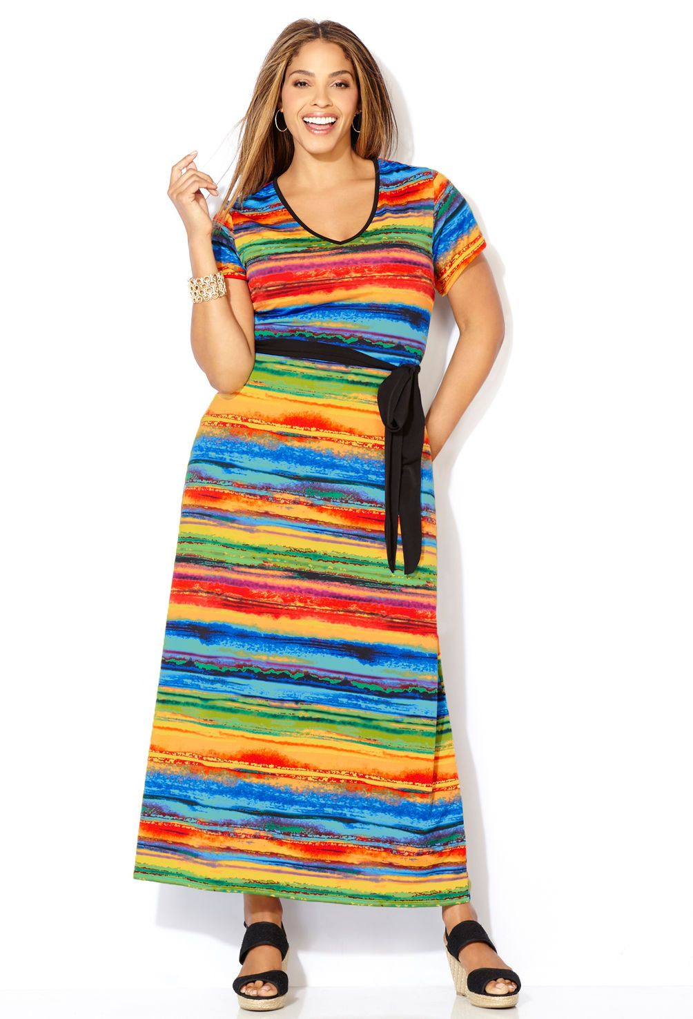 fa6754aa055 Rainbow Striped Maxi Dress-Plus Size Dress-Avenue