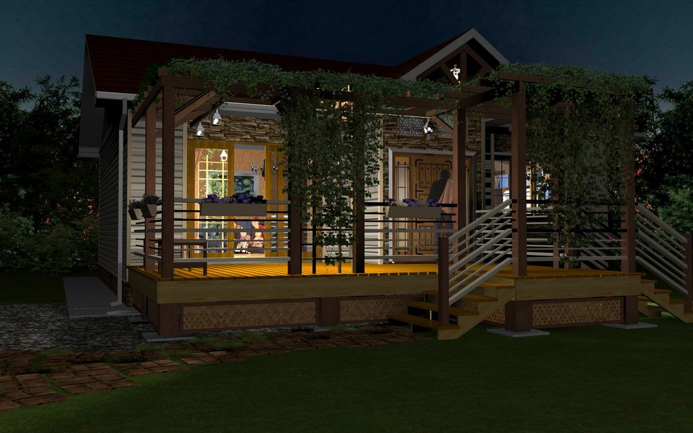 Nighttime small house 3d model rendering created by for Home rendering software