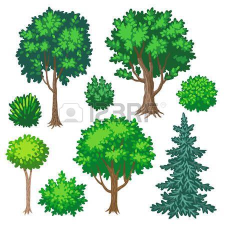Conjunto De Rboles Y Arbustos De Dibujos Animados Aislado En El Fondo Blanco Foto De Archivo Arboles Y Arbustos Arbusto Dibujo Conjunto De Arboles