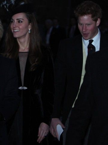 Kate Middleton shows off her engagement ring with Prince William at friend's wedding, Mr and Mrs Harry Aubrey-Fletcher, in Yorkshire.  Kate & Prince Harry are all smiles as they walk together, they appear to get along well. January 7, 2011.