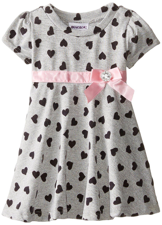 Blueberi Boulevard Baby Girls Flocked Heart Knit Dress
