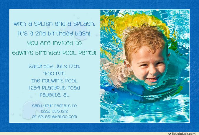 Custom Colored Birthday Pool Party Blue Invitation