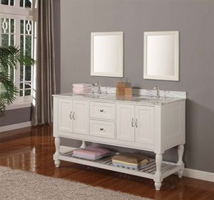 """Show details for 60"""" Mission Turnleg Style Double Bathroom Vanity Sink Console, White Carrera Top, Pearl White Finish Cabinet with Mirrors"""