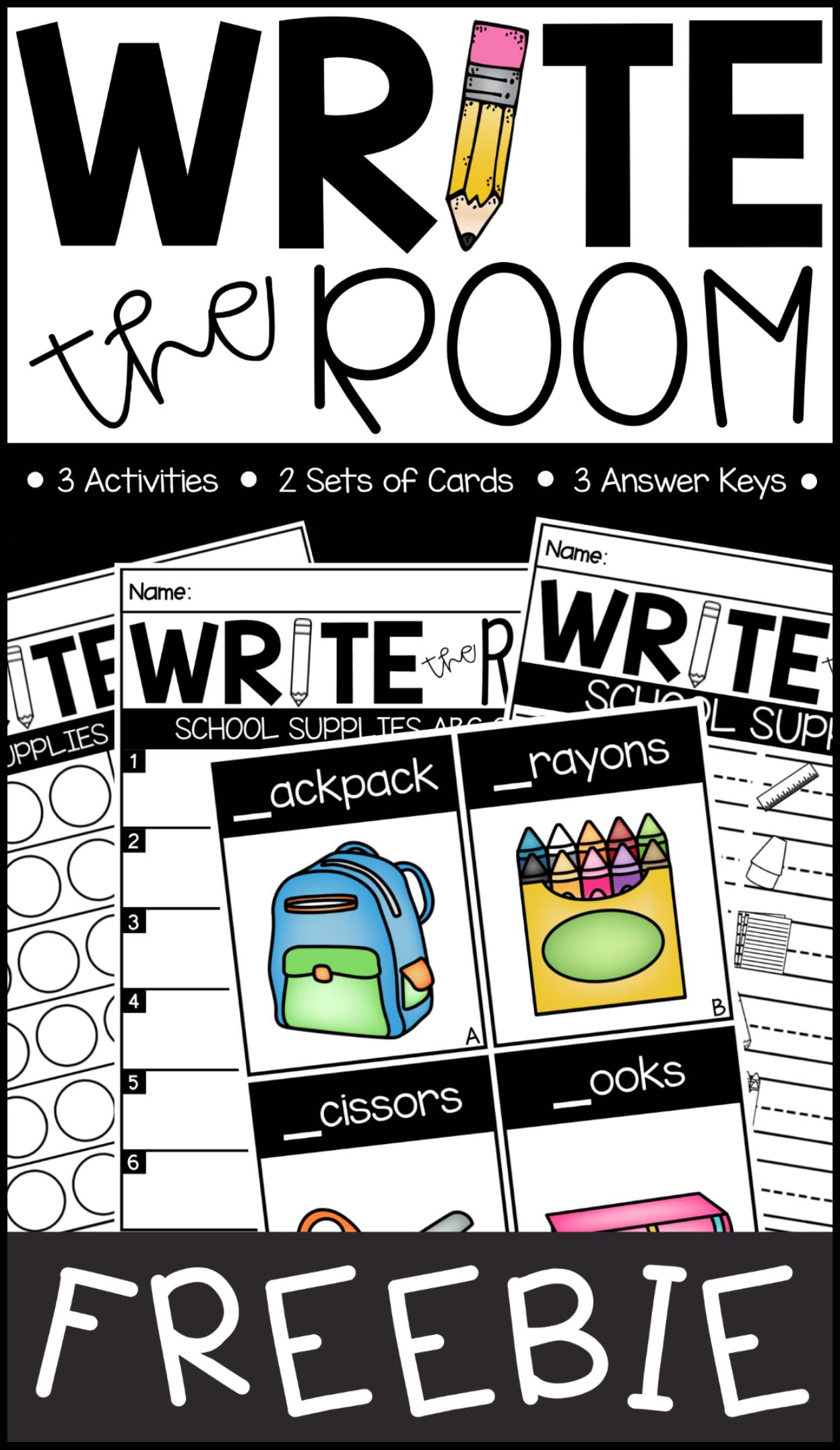 Write The Room School Supplies Edition Freebie