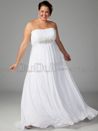 A-line Chiffon Tube Top Strapless Floor-length Beading Plus Size ...