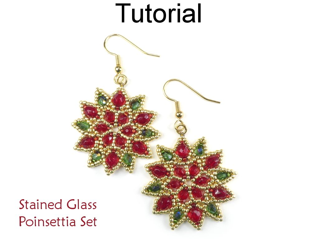 Beaded Poinsettia Earrings Pendant Necklace Christmas Holiday Jewelry Making Pattern Tutorial By Simple Bead Patterns 01
