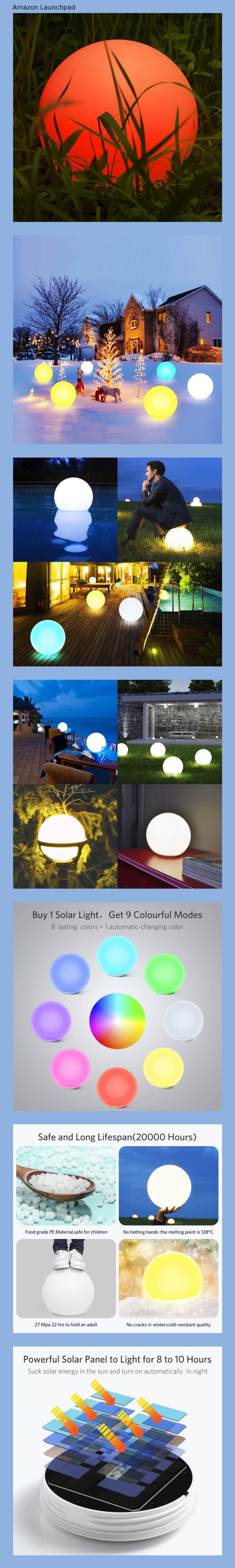 Homever LED-Solar-Kugelleuchte Wasserdicht Schwimmkugel Outdoor Leuchtkugel Mit 9 Farbwechselmodi f/ür Garten//Teich//Pool//Party Kugelleuchte