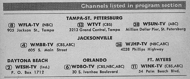 Florida State Edition August 3 1957 Florida State Tv Guide Jackson St