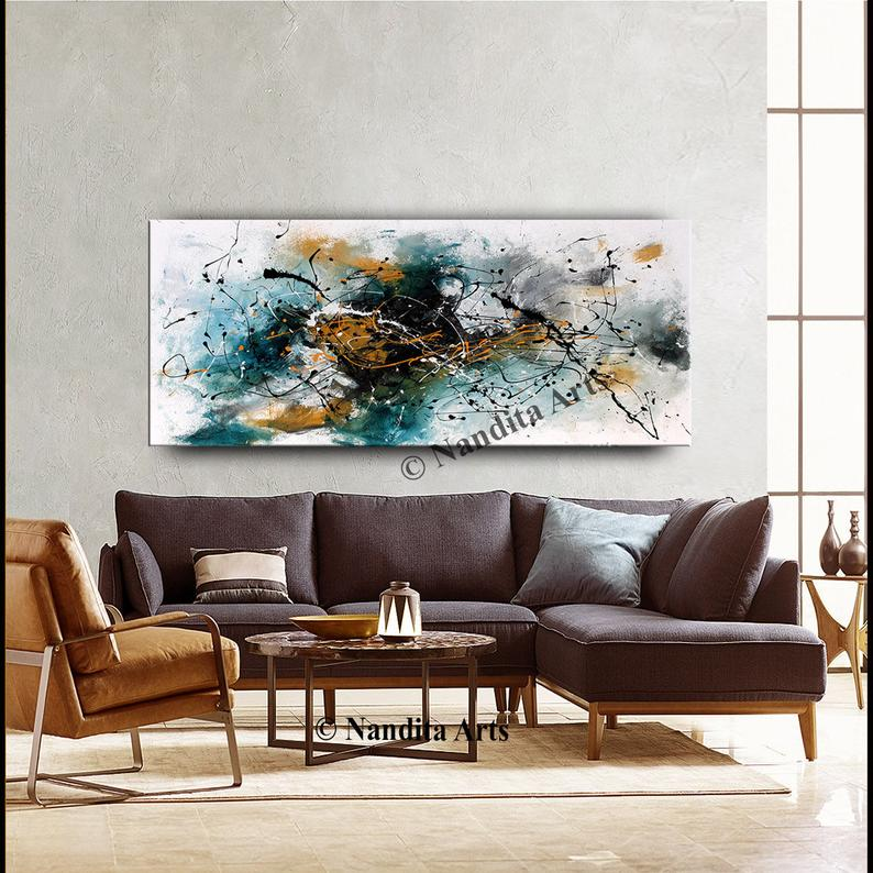 Teal Home Decor Teal Wall Art Canvas Teal Wall Art Turquoise Painting Large Wall Art Home Or Office Decor Huge Modern Art Nandita Albright Teal Wall Art Teal Home Decor Large Wall Art #teal #wall #art #for #living #room