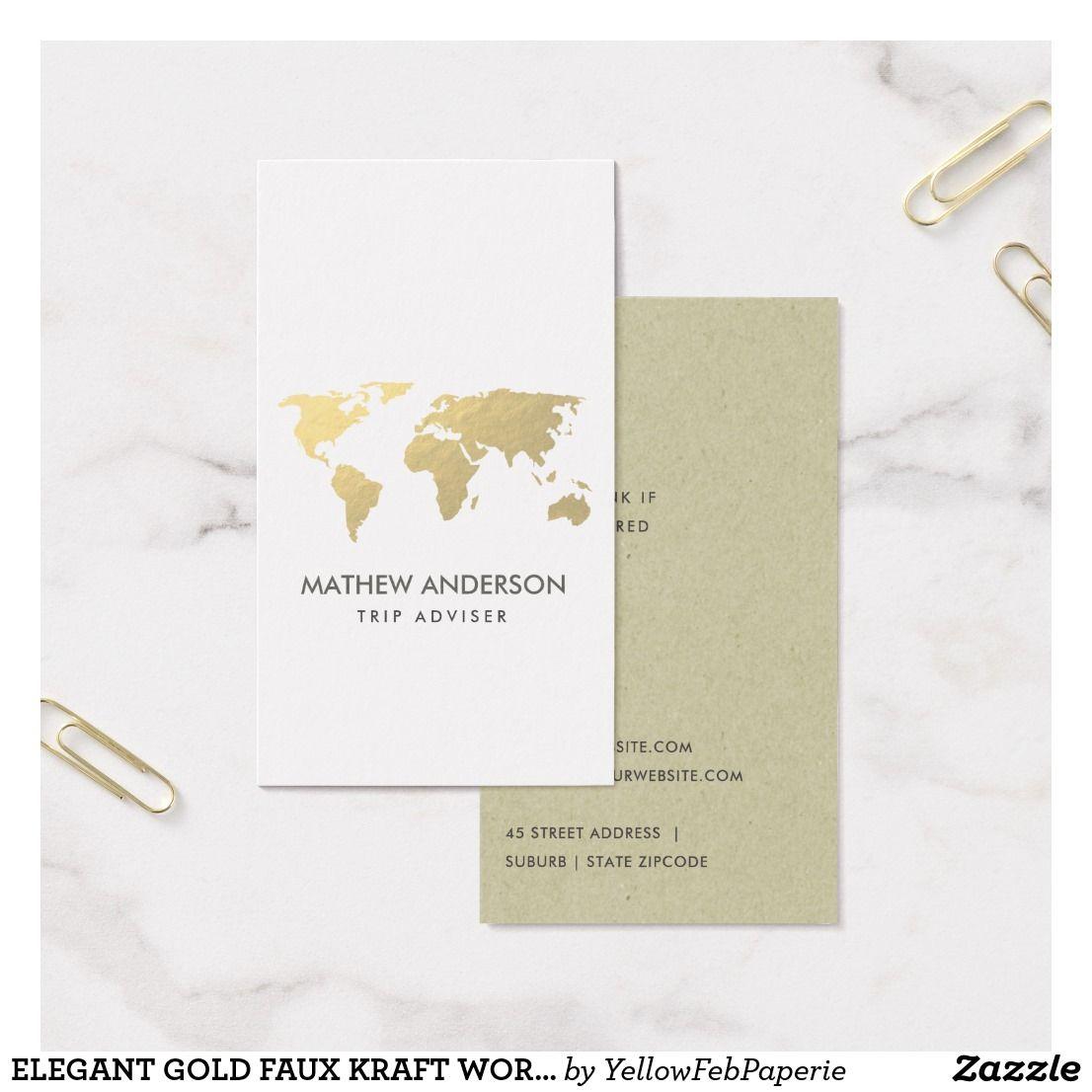 Elegant gold faux kraft world map personalised business card retro elegant gold faux kraft world map personalised business card reheart Choice Image