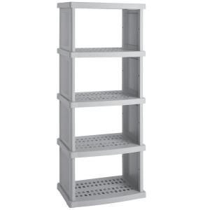 suncast 5 shelf 30 in w x 72 in h x 20 in d plastic shelving unit utility shelves plastic. Black Bedroom Furniture Sets. Home Design Ideas