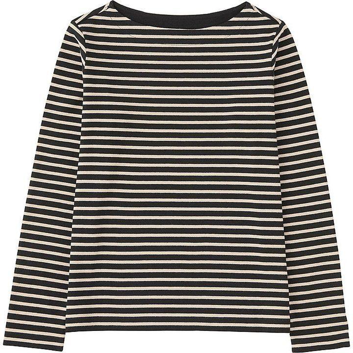 Women Striped Boat Neck Long Sleeve T