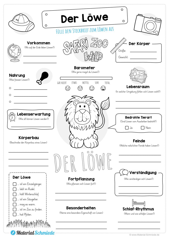 Steckbrief Lowe Unterrichtsmaterial In Den Fachern Deutsch Sachunterricht Steckbrief Schulkinder Unterrichtsmaterial