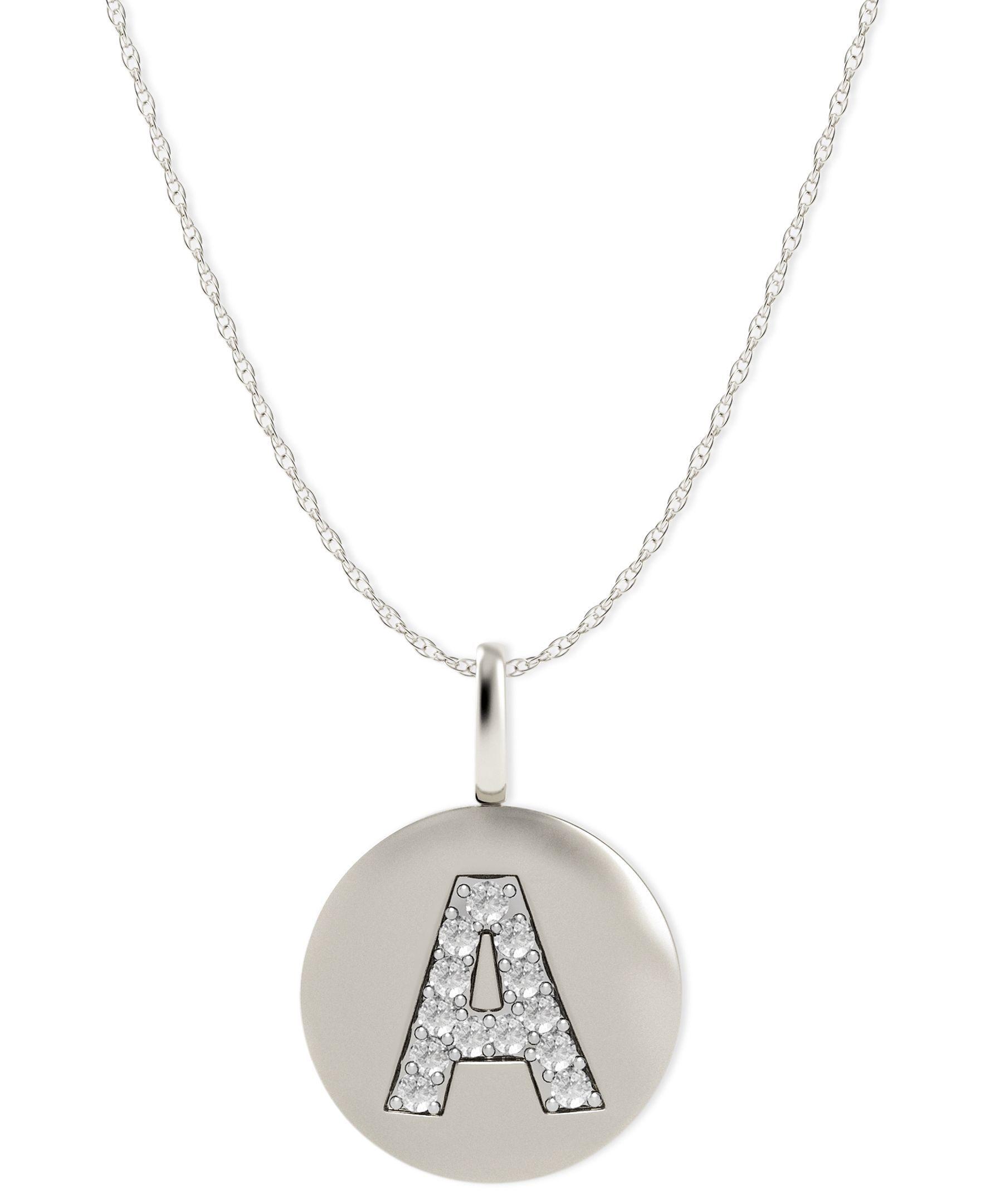 K white gold necklace diamond accent letter a disk pendant