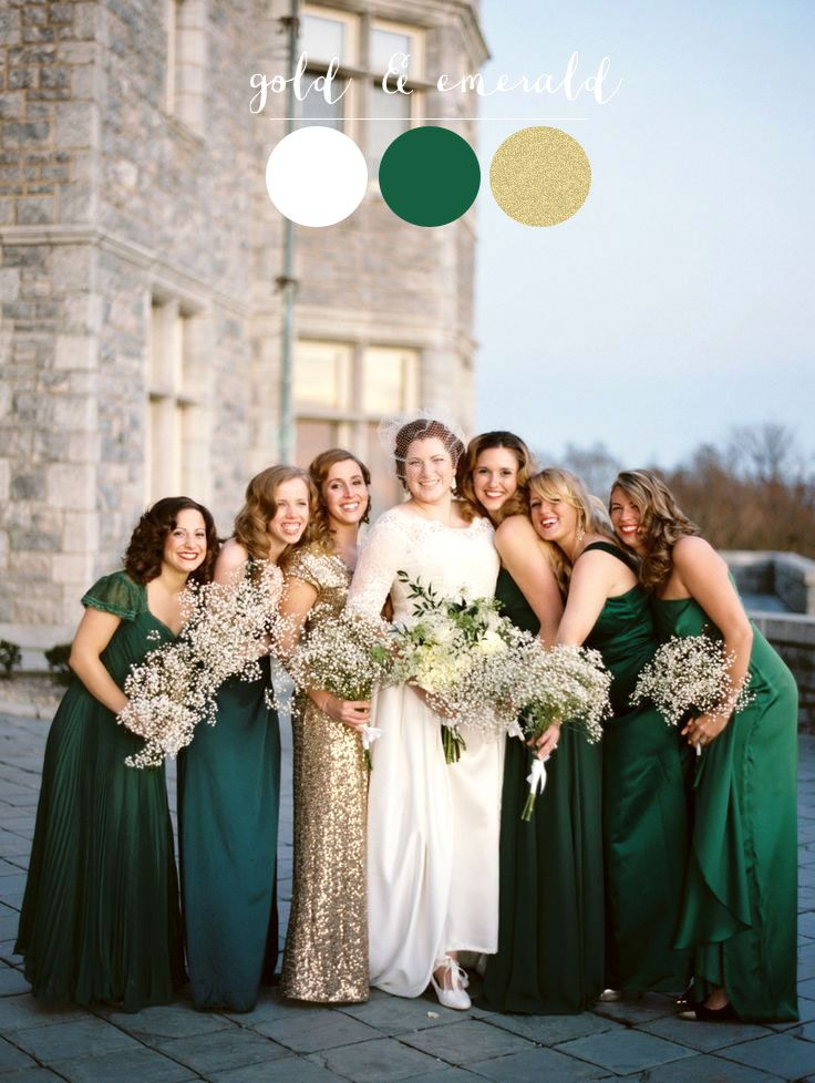 4ba54bbe99 Mismatch Emerald and gold bridesmaids