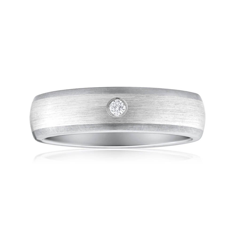 brushed look titanium and sterling silver men's wedding band with