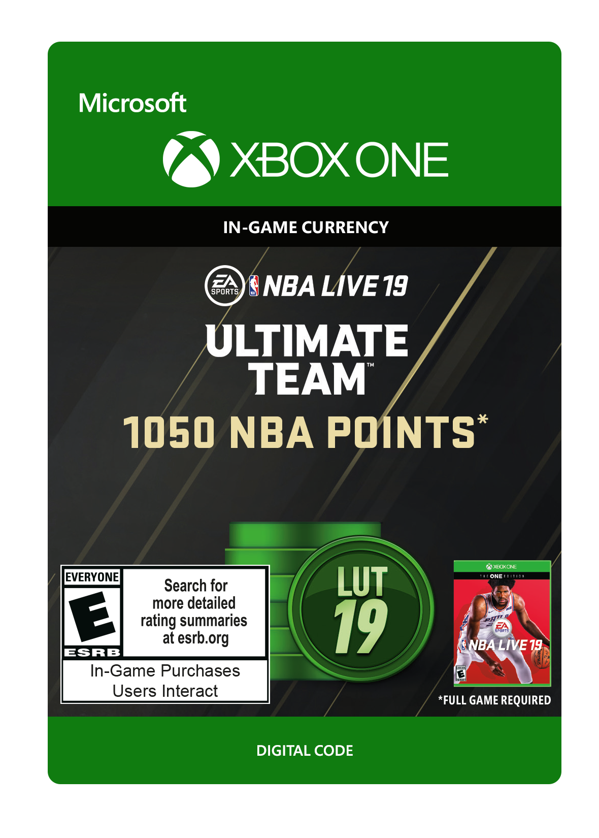 NBA Live 19 Ultimate Team 1,050 NBA Points Xbox One
