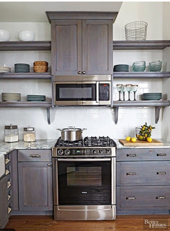microwave over stove, open shelving | Hale Ideas in 2019 ...