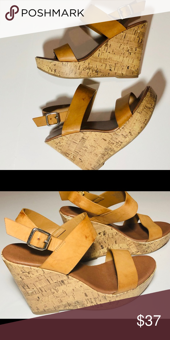 Women's Camel Wedge Platform Sandals