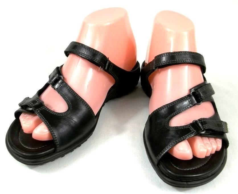 ECCO Shoes Womens Size US 6 6.5 M EUR 37 Black Leather Slip On Sport Sandals