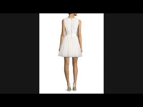 ★★ SALE!! Alice + Olivia Shane Cap-Sleeve Skater Dress, Red ★★