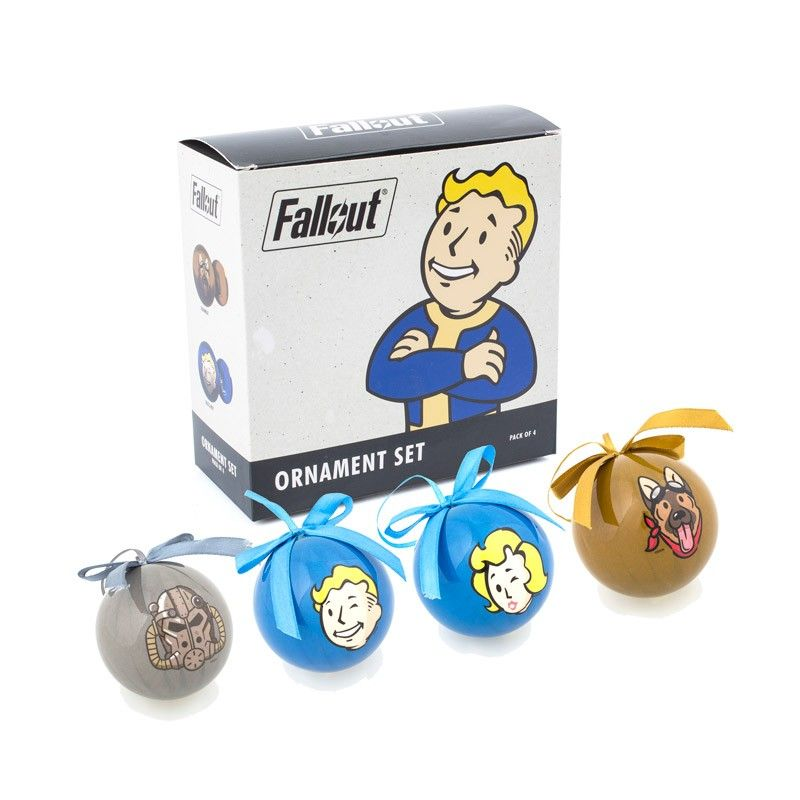 The Fallout Emoji Ornament set comes in a set of 4 ornaments with