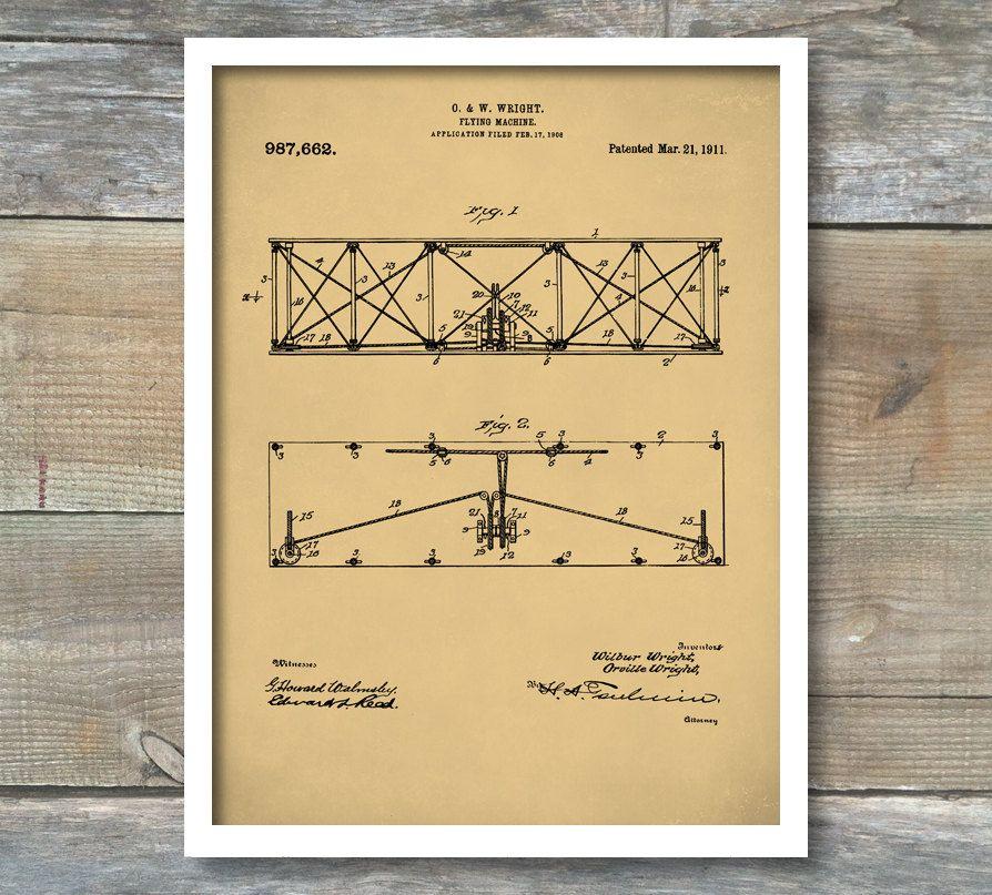 Wright Brothers Flying Machine, Patent Print, Airplane, Airplane Art ...