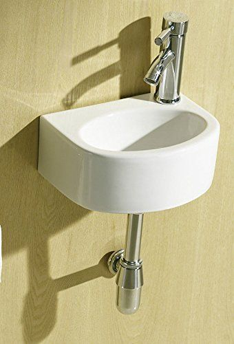 Small Compact Round D Shaped Oval Cloakroom Basin Bathroom Sink Wall Hung 300 X 230 Right Hand E Plumb Http Www Co Uk Dp B00irez39y Ref