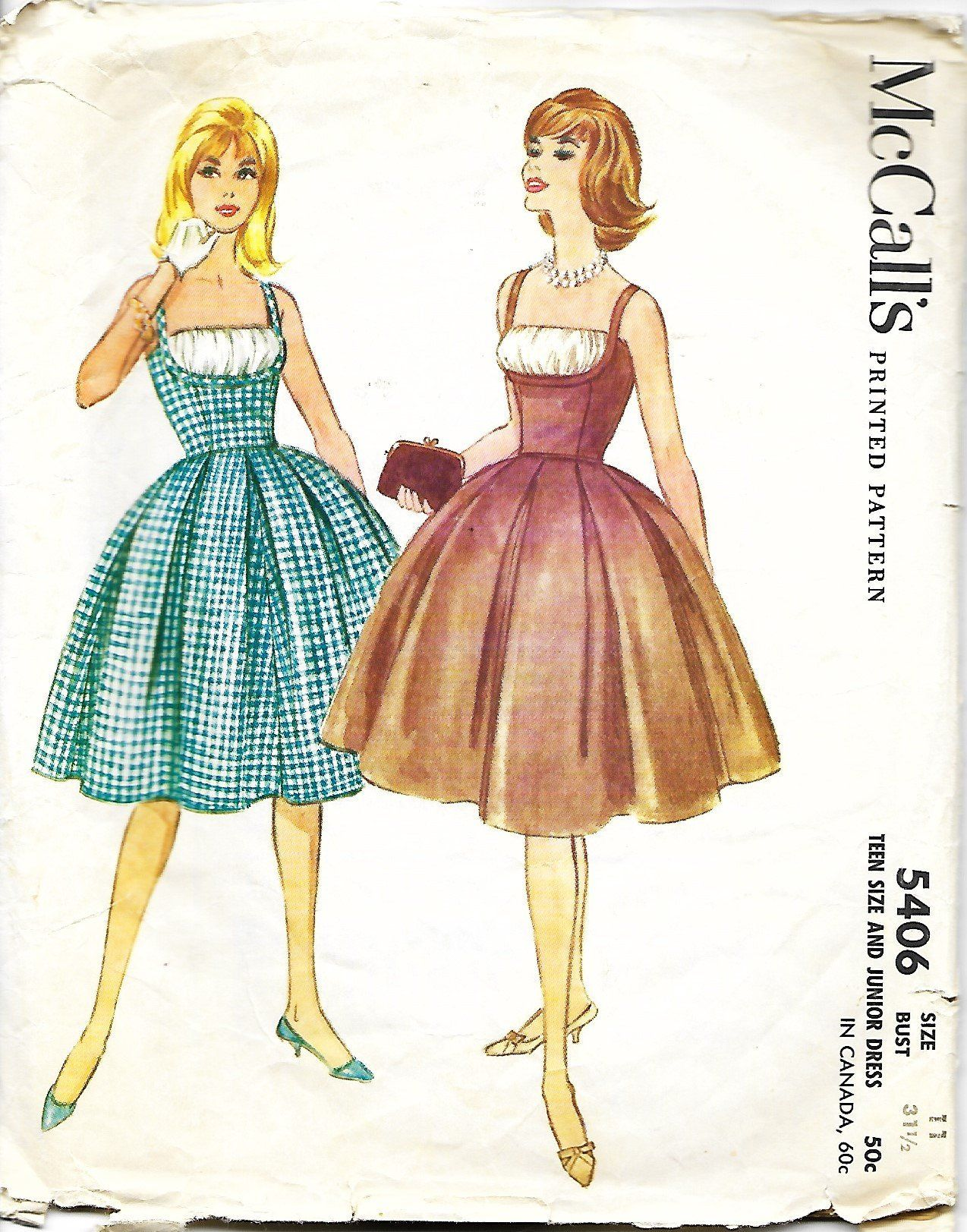 Mccall S 5406 Camisole Top Dress With Box Pleated Skirt Etsy Rockabilly Dress Pattern Vintage Dress Patterns Rockabilly Dress