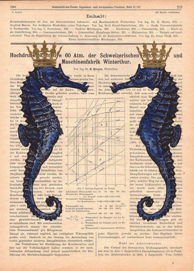 Seahorses ORIGINAL ARTWORK seahorse print HAND by ArtElem