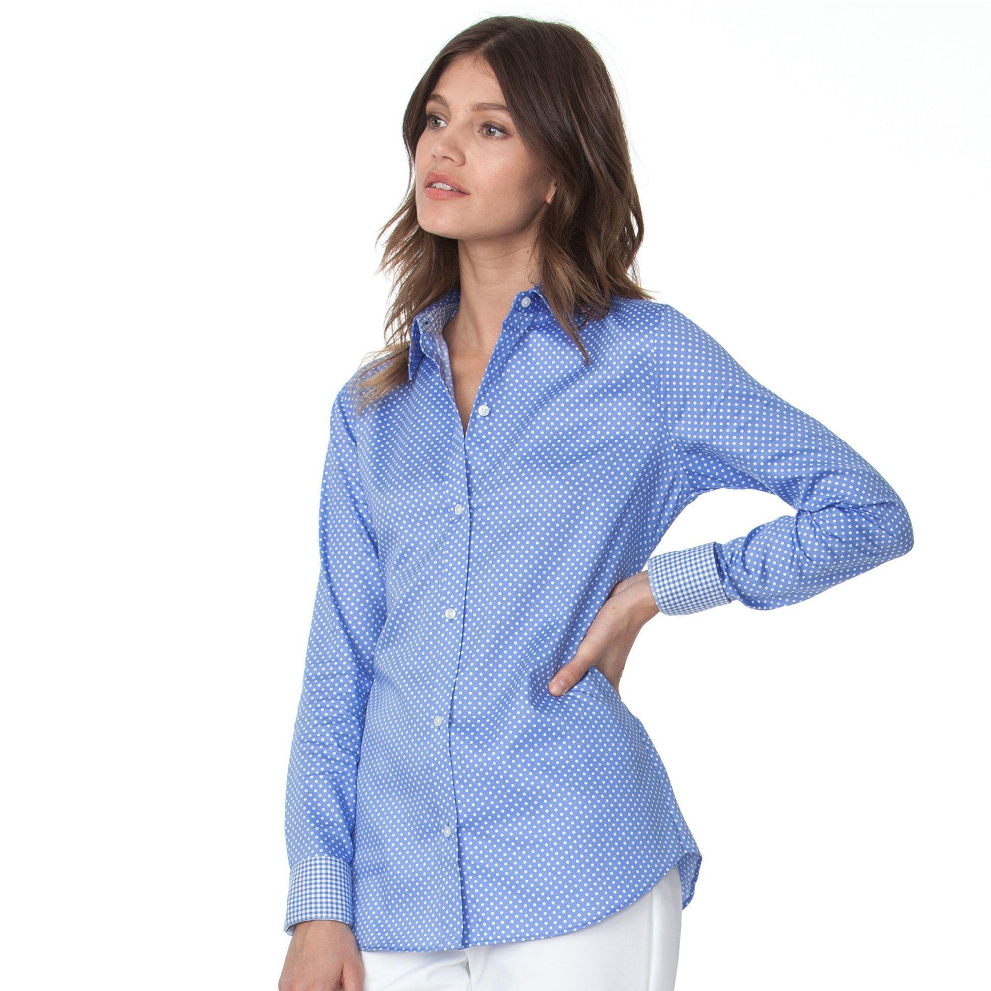 e0eccd0ed42 Petite Chaps No Iron Printed Sateen Shirt