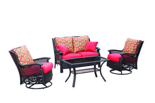 Backyard Creations Reg Allenwood 4 Piece Deep Seating Patio Set In Red Patio Furniture Collection Furniture Design Software Living Room Furniture