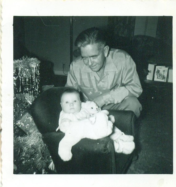 1950s Christmas Baby With Proud Gradpa Old Man Tree 50s Vintage