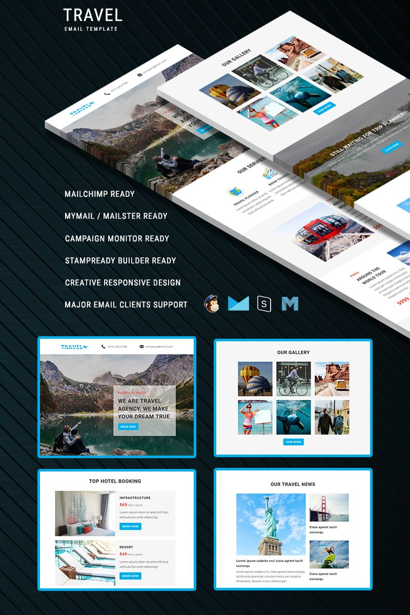Travel Responsive Email Newsletter Template Typography Design