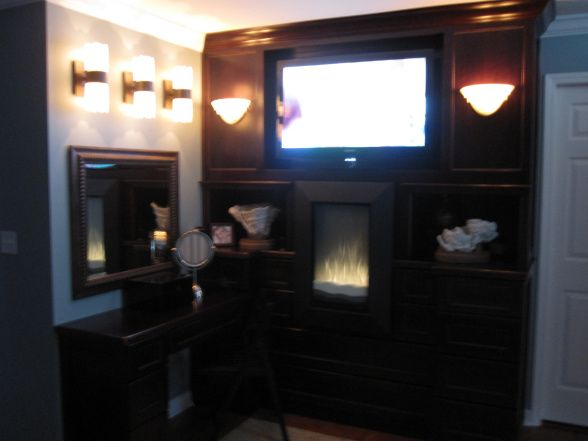 Electric fireplace, so cozy