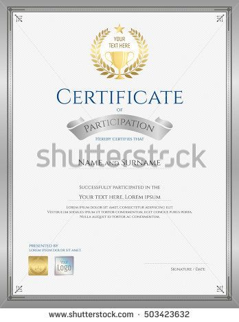Portrait Certificate Template For Achievement Appreciation Or