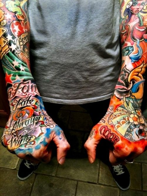 Color Hand Tattoos Google Search Hand Tattoos Tattoos Knuckle Tattoos