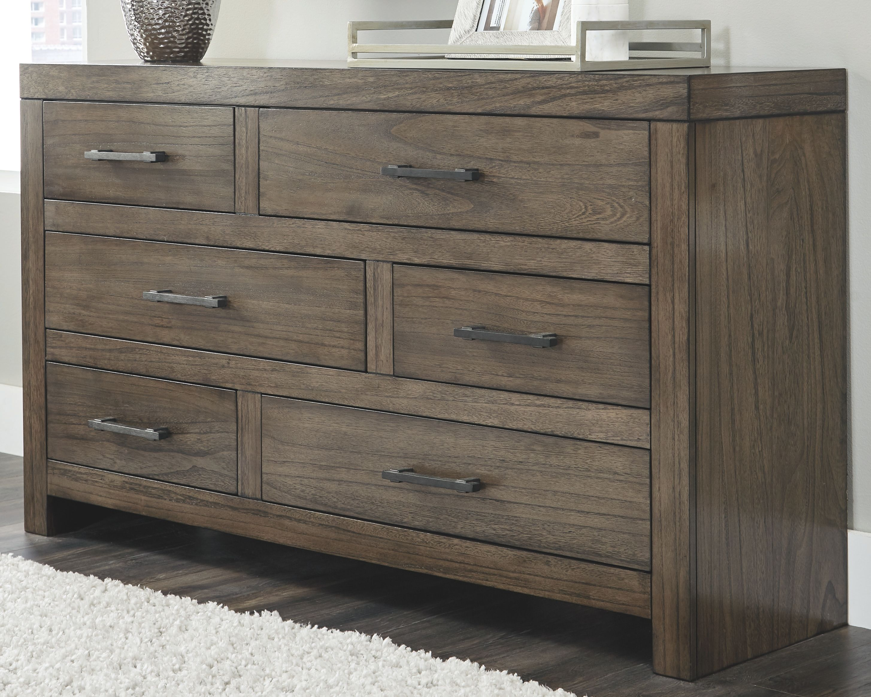 Best Deylin Dresser Grayish Brown Painted Furniture Leather 400 x 300
