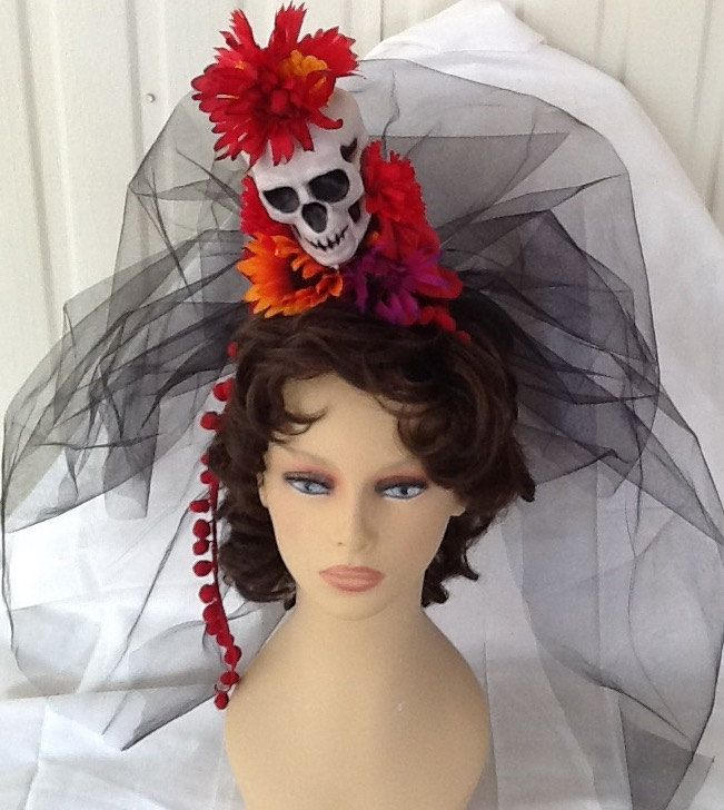 Brand New Day of the Dead Flower Headband with Lace Veil