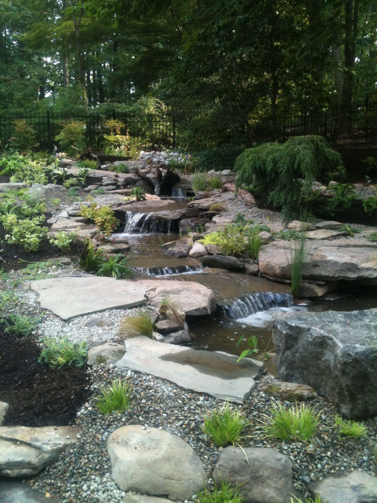 pond waterfalls | Pond landscaping, Backyard water feature ...